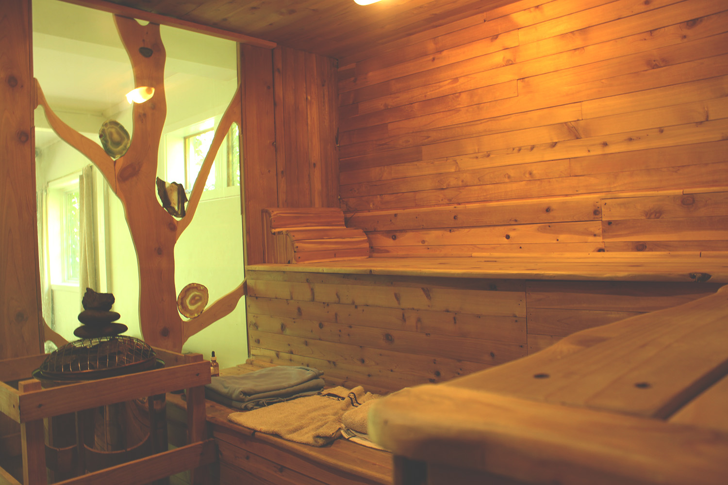View of indoor custom wood sauna